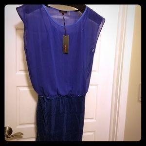 Royal blue,  chiffon covered,  sequined mini dress